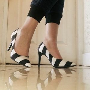 Black & White Striped Heels